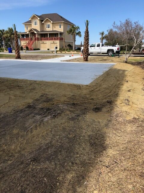 concrete driveway and parking area installation Osprey landing north topsail beach nc (1)